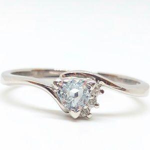 10k White Gold Genuine Aquamarine & Diamond Ring